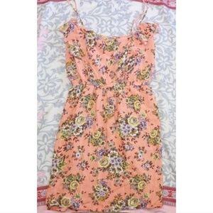 Rue 21 Peach Floral Strappy Summer Dress sz L